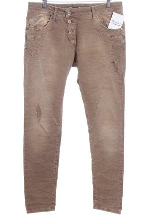 Please Pantalone elasticizzato marrone chiaro aspetto di seconda mano