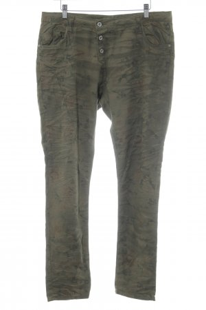 Please Stretchhose olivgrün florales Muster Casual-Look