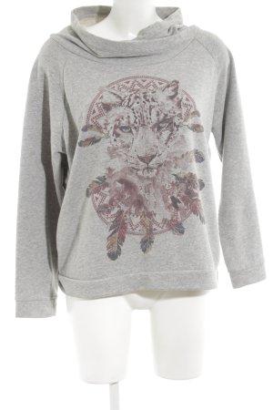 Please Sweatshirt hellgrau meliert Casual-Look