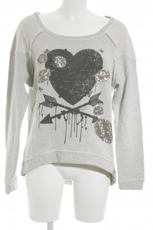 Please Sweatshirt hellgrau-schwarz Motivdruck Casual-Look