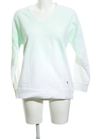 Please Maglione con scollo a V verde pallido-bianco Colore sfumato stile casual
