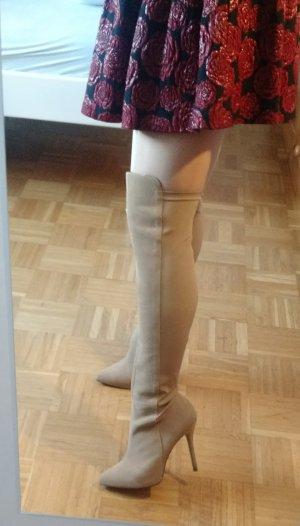 Pleaser Overknee Stiefel Gr. 38,5 beige high heels sexy boots blogger