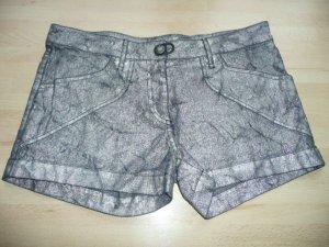 Plein Sud Denim Jeans Shorts Hot Pants Schwarz Silber Metallic Batik Knitter Optik Gr 36