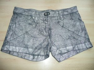 Plein Sud Denim Jeans Shorts Hot Pants Schwarz Silber Metallic m Knitter Effekt Gr 36