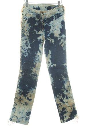 Plein Sud Jeans Slim Jeans dunkelblau-camel Batikmuster extravaganter Stil