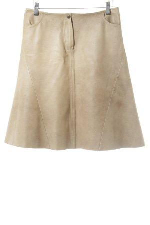 Plein sud Falda de cuero marrón arena look casual