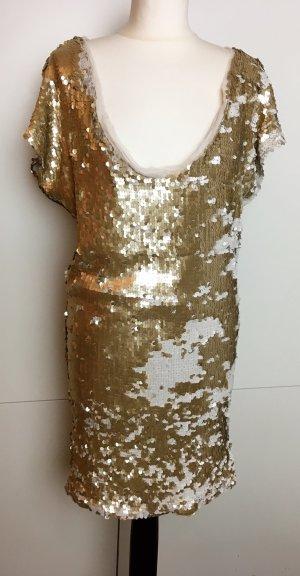 * PLEIN SUD * PALIETTEN PARTY MINI KLEID Wechsel- Farben weiß gold Gr 38 36 (40 )