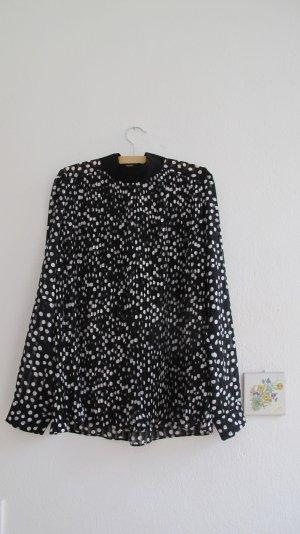 Zara Blusa de manga larga blanco-negro poliamida