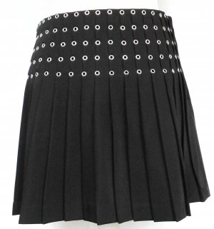 H&M Pleated Skirt black-silver-colored polyester