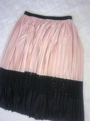 Zara Gonna pieghettata nero-rosa pallido