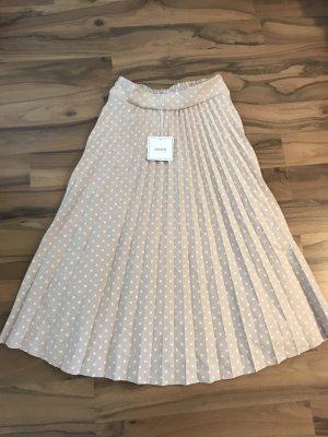 Jupe plissée beige-blanc
