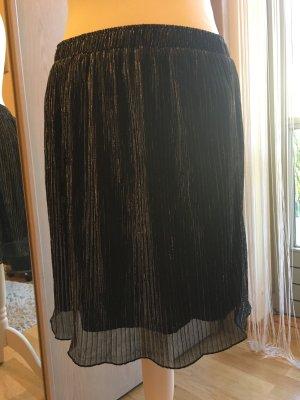 Oui Geplooide rok zwart-zilver