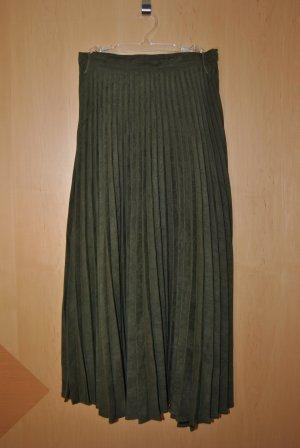 Vintage Geplooide rok khaki
