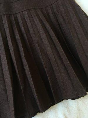 H&M Gonna a pieghe marrone-nero-marrone scuro Lana