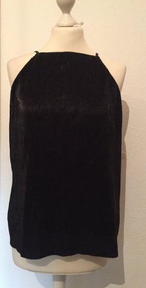 Plissiertes schwarzes Oberteil aus schimmerndem Stoff NEU