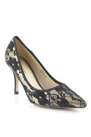Plocadi Spitz-Pumps goldfarben-schwarz florales Muster extravaganter Stil