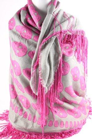 Plomo o plata Fransenschal grau-pink Allover-Druck Casual-Look