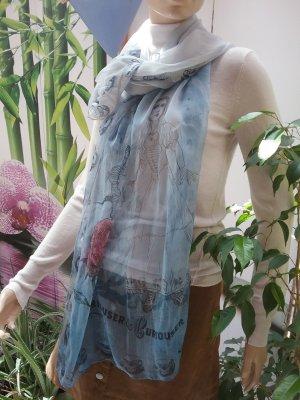 Plomo o plata Bufanda de seda azul celeste