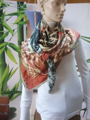 Plomo o plata Bufanda de seda coñac-beige