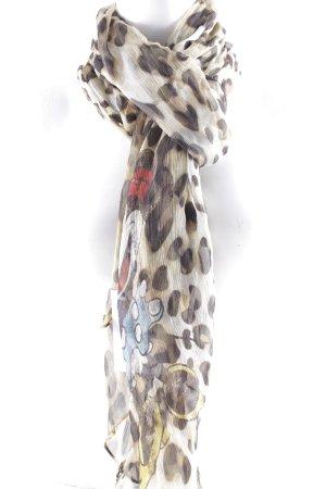 Plomo o plata Foulard en soie brun foncé-beige motif léopard