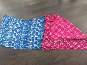 Plomo o plata Bufanda de seda rosa-azul