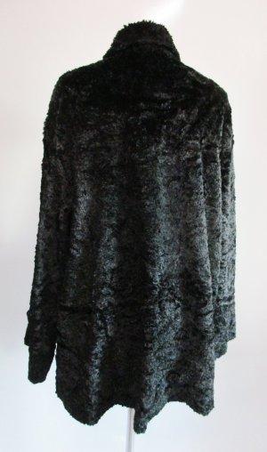 Kemper Abrigo de piel sintética negro tejido mezclado