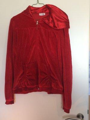 Plüschige rote samtige Sweatjacke von Orsay