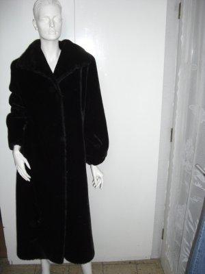 Cappotto in eco pelliccia nero-marrone scuro