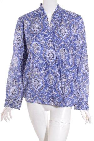 Plus Fine Blusa cruzada azul-blanco estampado con aplicaciones look casual