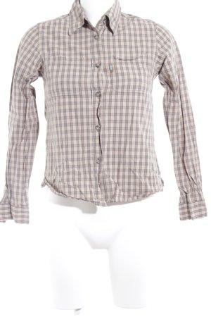 Plusminus Hemd-Bluse grau-beige Karomuster Casual-Look