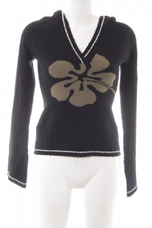 Plusminus Hooded Sweater black flower pattern casual look