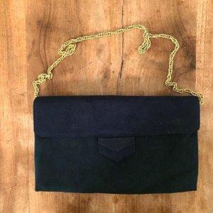 Pochette blu scuro-oro Finta pelle