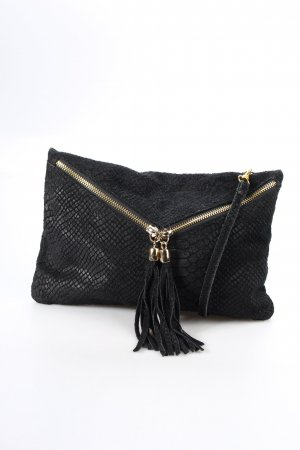 Pochette black-gold-colored reptile print