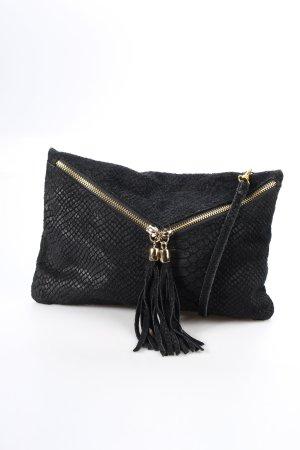 Bolso tipo pochette negro-color oro estampado de reptil