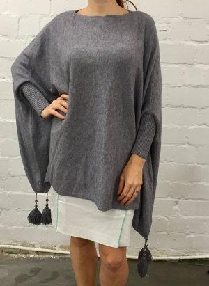 Pocho Cardigan Pullover Wolle Grau one Size Neu