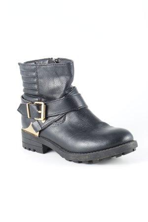 Poelman Ankle Boots schwarz-goldfarben Biker-Look