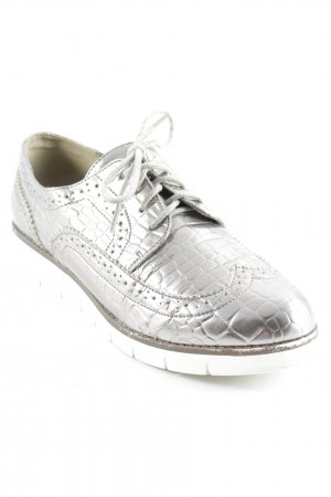 Poelman Lace Shoes silver-colored animal pattern wet-look