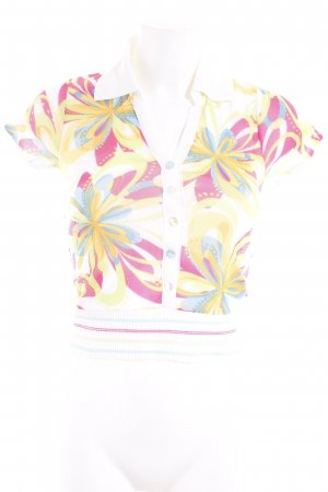 POIS Cropped Shirt florales Muster Materialmix-Look