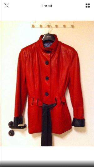 Polar Echtleder Mantel Kurz Jacke Rot Gr.42
