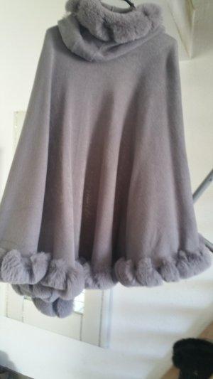 Giacca di pelliccia nero-grigio chiaro