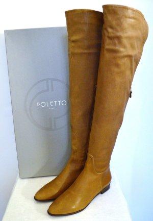 Poletto Premium 100% Leder Stiefel Overknees Cognac New