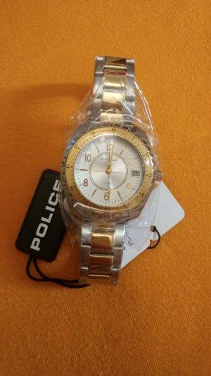 Police Reloj con pulsera metálica color plata-color oro acero inoxidable