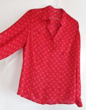 Polka Dots Bluse Erfo Größe M 40 Rot Punkte Lachs Satin Orange Rosa Langarm Hemd