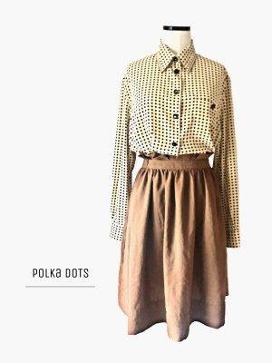 Polka dots Bluse in creme mit schwarzen Punkten oversized ohne Rock / true Vintage / 42