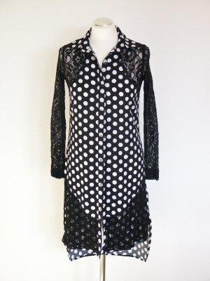 Polka dots Bluse schwarz weiß mit Spitze von Asos