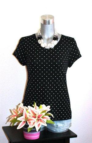 Polka Dots Blusen Shirt gr.40 Schwarz Weiß