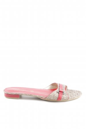 Pollini Heel Pantolettes cream-red themed print casual look
