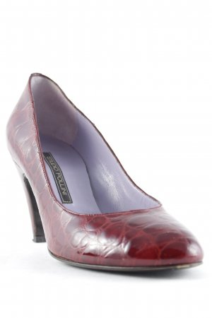Pollini Peep Toe Pumps donkerrood-bordeaux dierenprint elegant