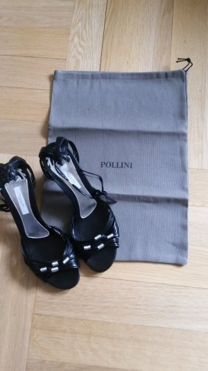 Pollini Sandalette Leder schwarz Silber Riemen wie neu