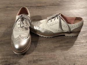 Pollini Schuhe Schnürschuhe Budapester metallic Gr. 38 Np 249 Euro